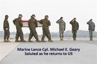 Dignified Transfer as Marine LCpl. returns to US Soil